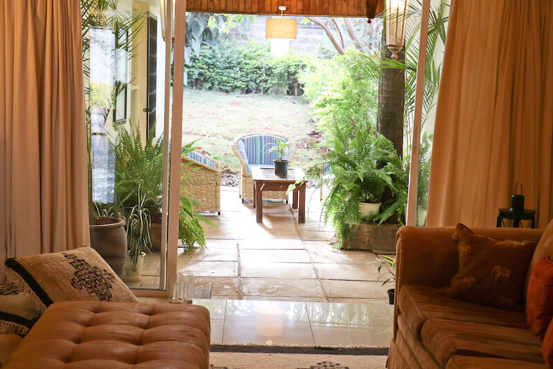 State House Courtyards Living Room and Patio - Furnished Apartments in Nairobi