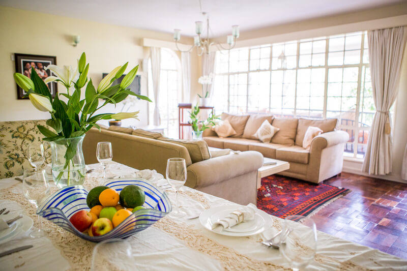 Garden Cottage Dining and Living Room - Furnished Apartments in Nairobi